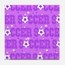 Purple Soccer Girl Tile Coaster