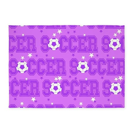 Purple Soccer Girl 5u0027x7u0027Area Rug