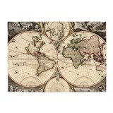 Vintage world map area 5x7 Rugs