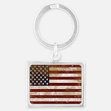Distressed American Flag2 Keychains