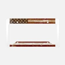 Distressed American Flag2 License Plate Holder