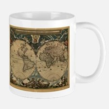 Vintage Map of The World (1664) Mugs