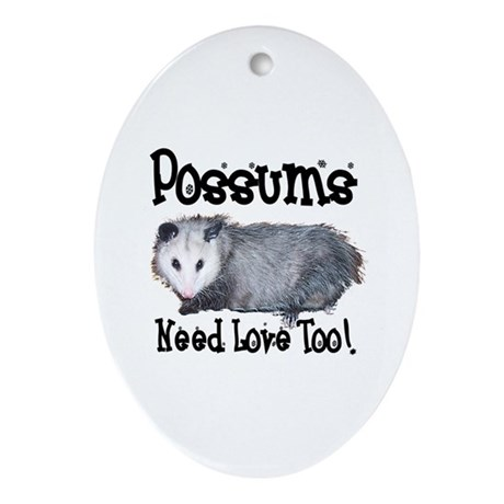 Possums Need Love Oval Ornament
