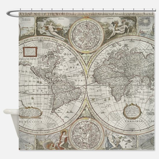 Vintage Map of The World (1651) Shower Curtain