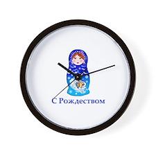 Russian Christmas Nesting Doll Wall Clock