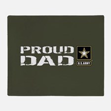 U.S. Army: Proud Dad (Military Green Throw Blanket