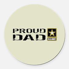 U.S. Army: Proud Dad (Sand) Round Car Magnet