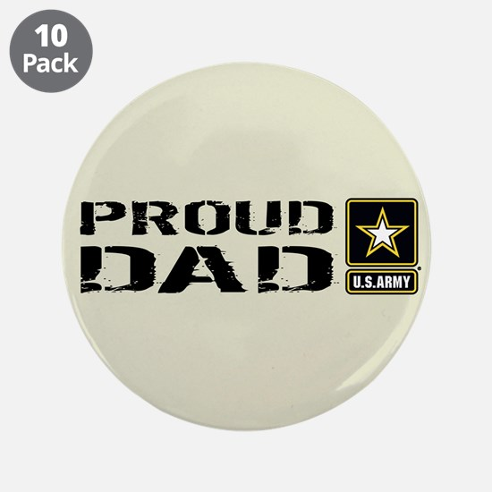 "U.S. Army: Proud Dad (Sand) 3.5"" Button (10 pack)"