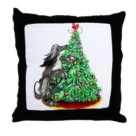 Afghan Hound Black ReachGoals Throw Pillow