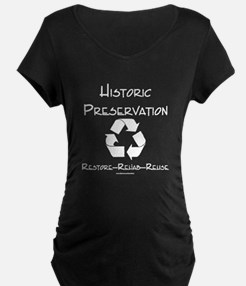 Preservation Recycle-black Maternity T-Shirt