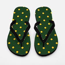 Polka Dot Pattern: Yellow & Green Flip Flops