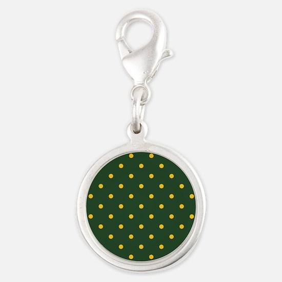 Polka Dot Pattern: Yellow & Gr Silver Round Charm