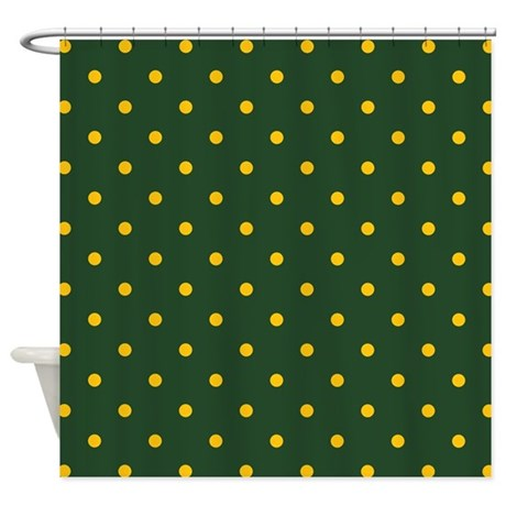 Polka Dot Pattern Yellow Amp Green Shower Curtain By Colors