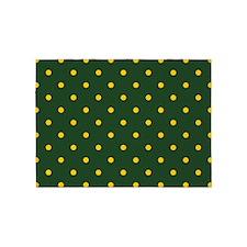 Polka Dot Pattern: Yellow & Green 5'x7'Area Rug