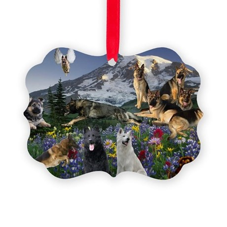 German Shepherd Country Angel Picture Ornament