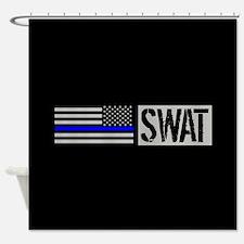 Police: SWAT (Black Flag Blue Line) Shower Curtain