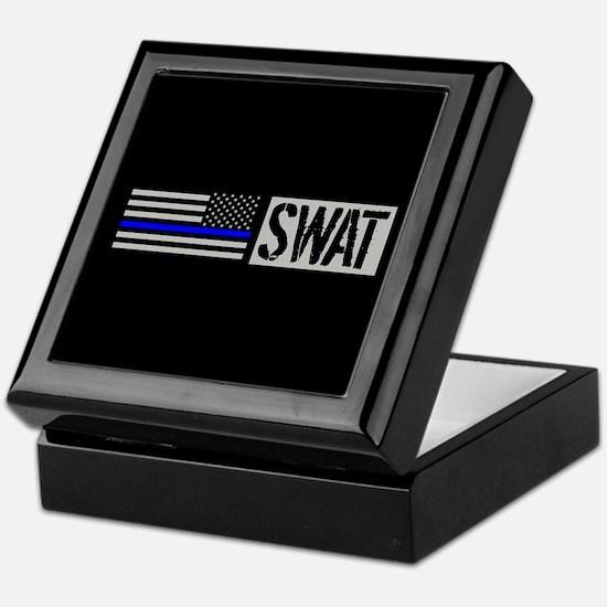 Police: SWAT (Black Flag Blue Line) Keepsake Box