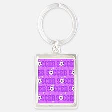 Purple Soccer Girl Keychains