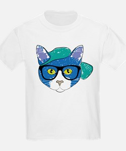 Funny Hipster Cat T-Shirt