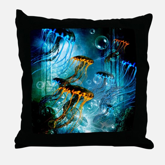 Awesome jellyfish Throw Pillow