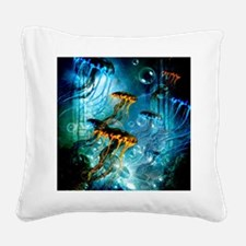 Awesome jellyfish Square Canvas Pillow