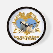 Save The Polar Bears Wall Clock