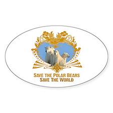 Save The Polar Bears Oval Decal