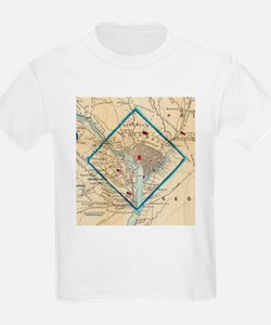 Vintage Map of Washington D.C. Battlefield T-Shirt