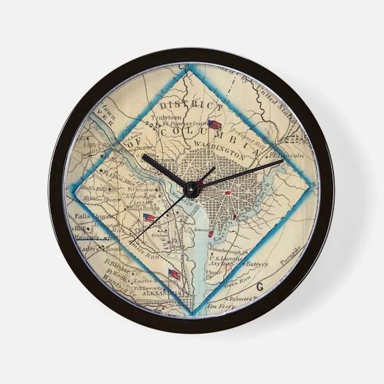 Vintage Map of Washington D.C. Battlefi Wall Clock