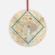 Vintage Map of Washington D.C. Batt Round Ornament