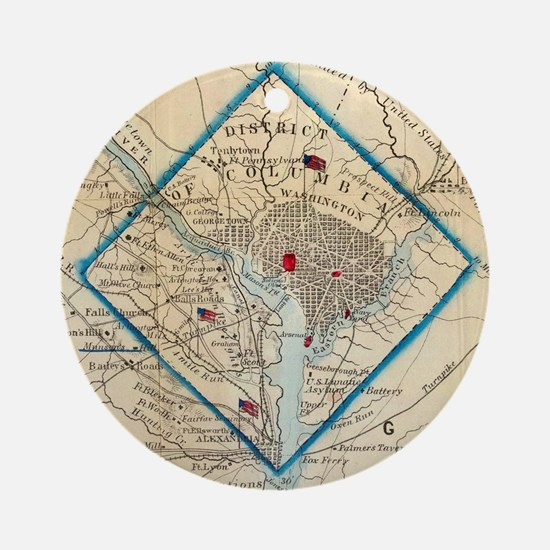 Vintage Map of Washington D.C. Batt Round Ornament