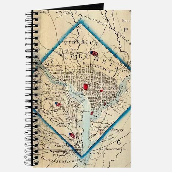 Vintage Map of Washington D.C. Battlefield Journal