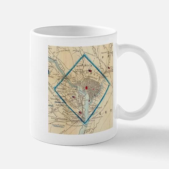 Vintage Map of Washington D.C. Battlefields ( Mugs