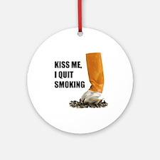I Quit Smoking Round Ornament