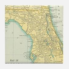 Vintage Map of Florida (1891) Tile Coaster