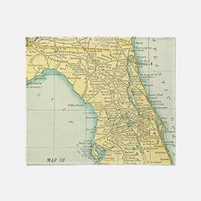 Vintage Map of Florida (1891) Throw Blanket