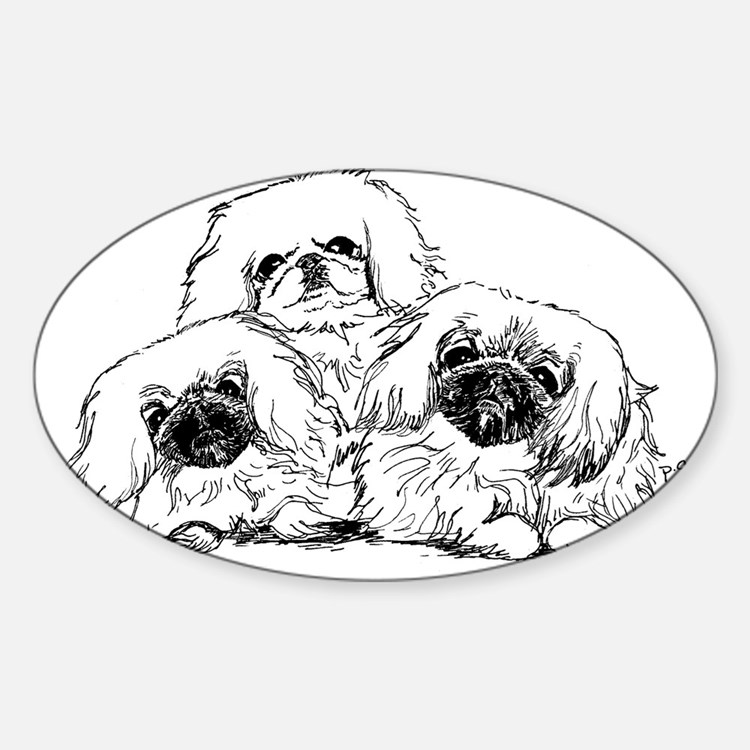 3 Pekingese Puppies Rectangle Decal