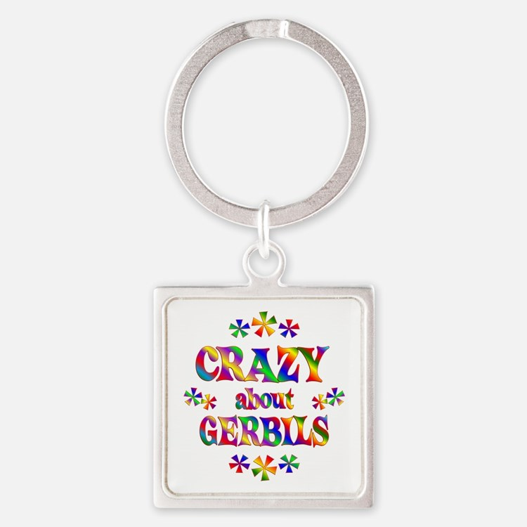 Crazy About Gerbils Square Keychain