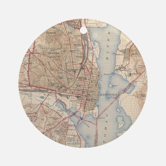 Vintage Map of Alexandria Virginia Round Ornament