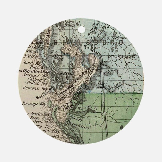 Vintage Map of Tampa Florida (1870) Round Ornament