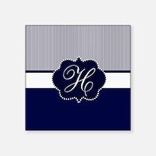 Elegant Monogram in Navy and White Sticker