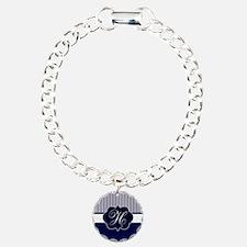 Elegant Monogram in Navy and White Bracelet
