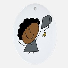 Stick Girl Grad Oval Ornament