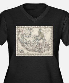 Vintage Map of Indonesia and The Plus Size T-Shirt
