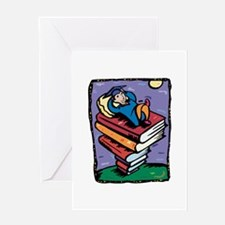 Graduate on stack of books Greeting Cards