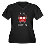 Fire Fighter Women's Plus Size V-Neck Dark T-Shirt