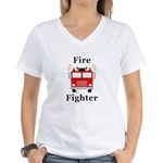 Fire Fighter Women's V-Neck T-Shirt