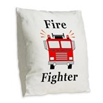 Fire Fighter Burlap Throw Pillow