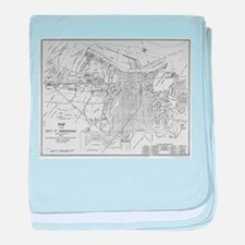 Vintage Map of Savannah Georgia (1910 baby blanket