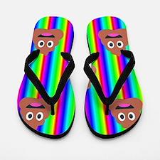 rainbow poop emoji Flip Flops